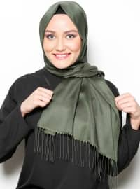 Khaki - Two-way - Plain - Fringe - Shawl