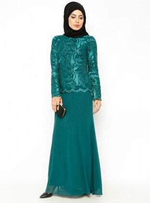 Dantelli Abiye Elbise - Yeşil
