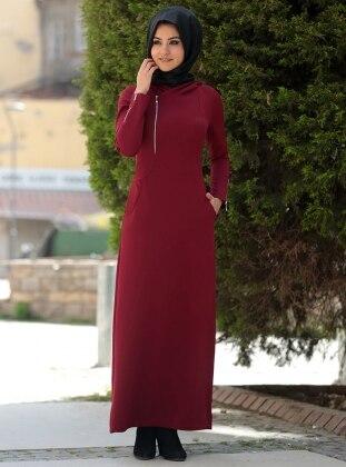 Melek Konat Fermuar Detaylı Spor Elbise - Bordo