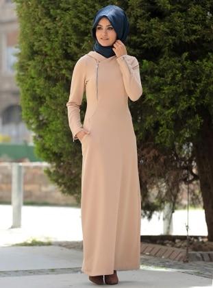 Melek Konat Fermuar Detaylı Spor Elbise - Sütlü Kahve