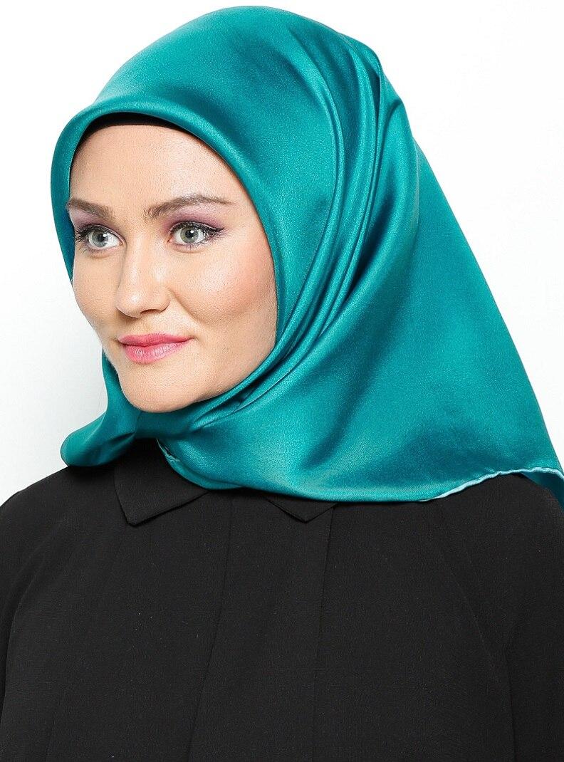 Tesettür %100 İpek Eşarp Balse Petrol Kadın Standart