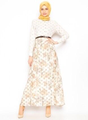 Çiçekli Elbise - Haki - Vivezza