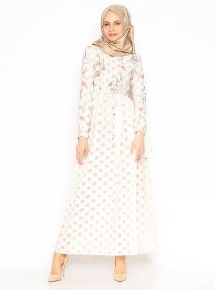 Çiçekli Elbise - Mercan - Vivezza