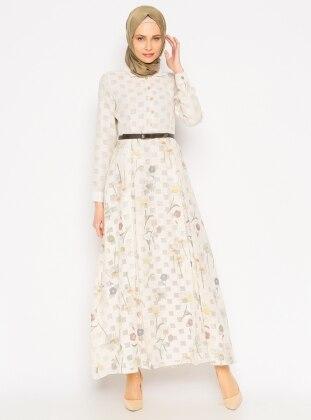 Çiçekli Elbise - Sarı - Vivezza