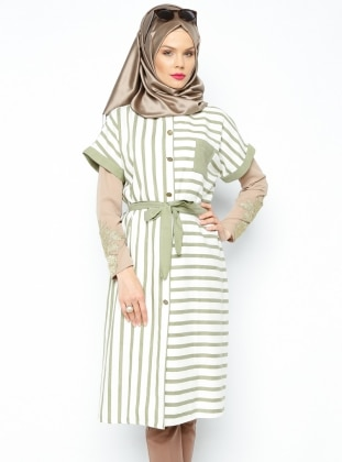 Striped Sleeveless Tunic - Almond - Nihan 197066