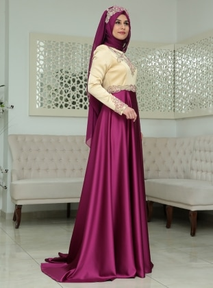 Osmanlı Abiye Elbise - Fuşya SomFashion