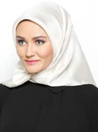 Balse Eşarp Düz Renkli İpek Eşarp - Bej - Balse Eşarp