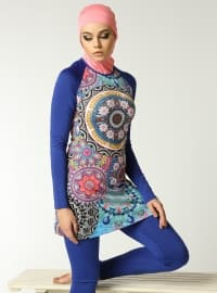 Ethnic Patterned Swimsuit - Saxe