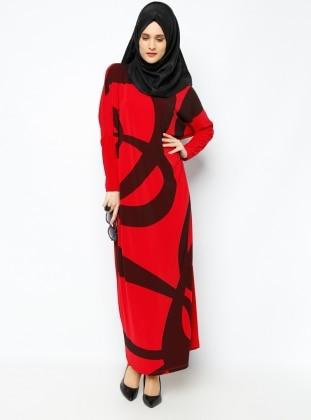 Yarasa Kollu Elbise - Kırmızı