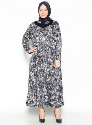 Metex Desenli Elbise - Lacivert