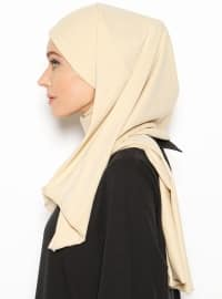 Beige - Cotton - Plain - Instant Scarf