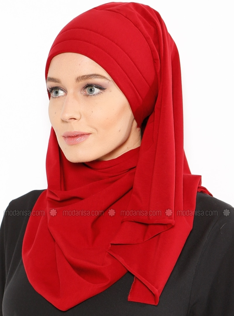 Maroon - Cotton - Plain - Instant Scarf