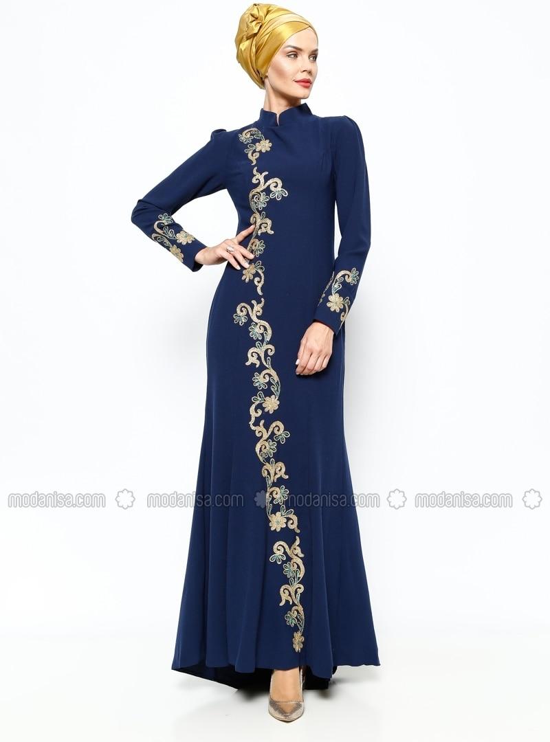 Embroidered Evening Dress - Navy Blue - Azra Ozer