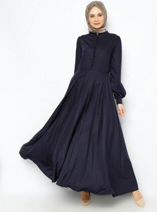 Düğme Detaylı Elbise - Laci̇vert