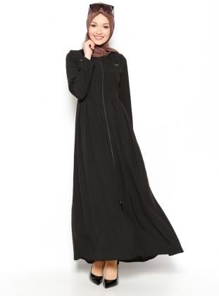 Fermuarlı Ferace - Siyah PARDESÜ DÜNYASI