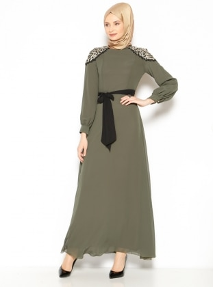 Güpür Detaylı Elbise - Haki Mileny