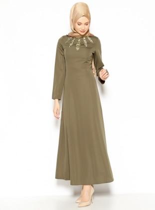 Yaka Detaylı Elbise - Haki