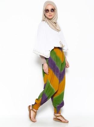 Buldan Bezi Batik Pantolon Şalvar - Yeşil Hardal Hoşgörcü