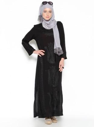 Buldan Bezi Laleli Kaftan İşlemeli Elbise - Siyah Hoşgörcü