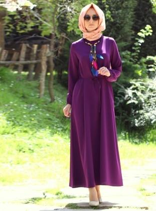 Sleeve Detailed Dress - Plum - Melek Aydin