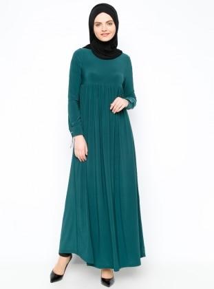Eflatun Robadan Elbise - Yeşil
