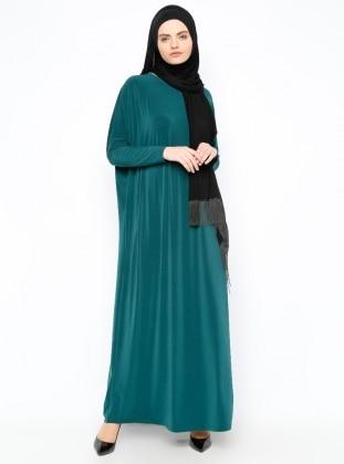 Yarasa Kollu Elbise - Yeşil