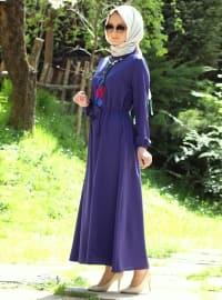 Sleeve Detailed Dress - Indigo - Melek Aydin