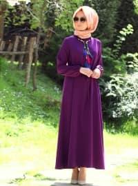 Arm volants Robe - Violet foncé - Melek Aydin