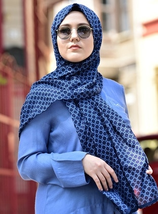Cotton Shawl - Navy Blue - Blue -  Esarp