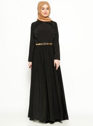 Pile Detaylı Elbise - Siyah