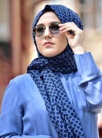 Cotton Shawl - Navy Blue - Blue -  Esarp