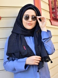 Cotton Fringed Shawl - Navy Blue -  Esarp