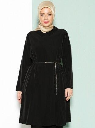 Armine Plise Detaylı Tunik - Siyah
