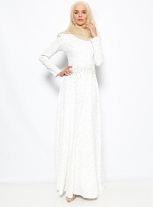 Brokar Abiye Elbise - Ekru Dilek Etiz