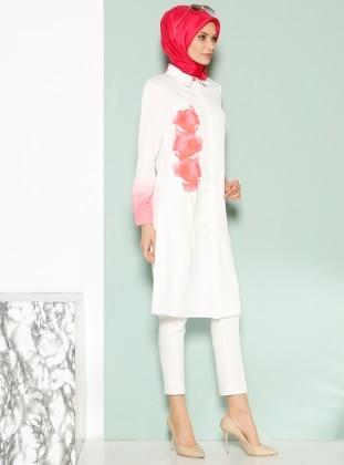Çiçek Desenli Tunik - Nar Çiçeği - Armine Giyim
