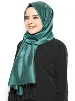 Lumire Düz Renkli Şal - Yeşil Siyah