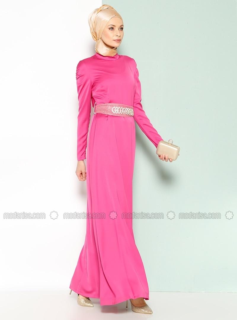 Embellished Evening Dress - Fuchsia