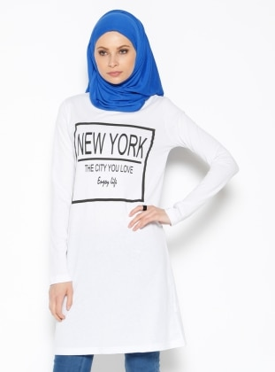 Baskılı Tunik - Beyaz