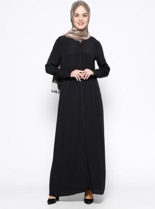 ModaNaz Fermuarlı Ferace - Siyah