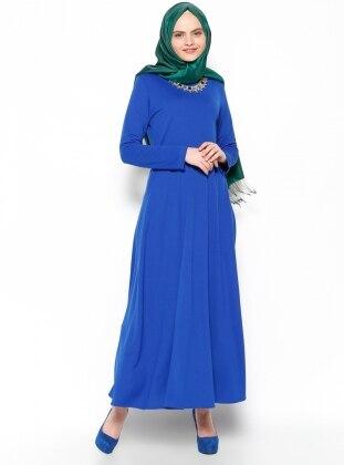 Kolye Detaylı Elbise - Saks