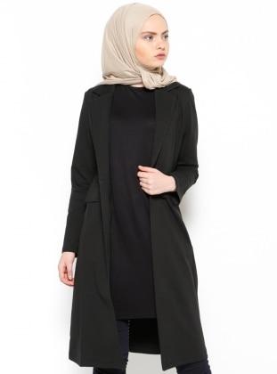 Şal Yaka Uzun Ceket - Siyah Bwest