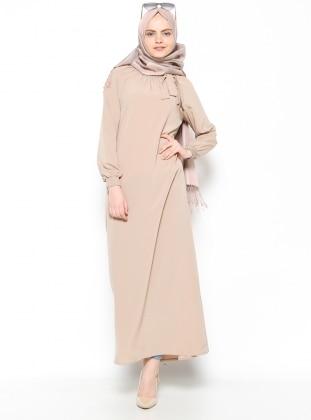 Yakası Büzgülü Elbise - Bej