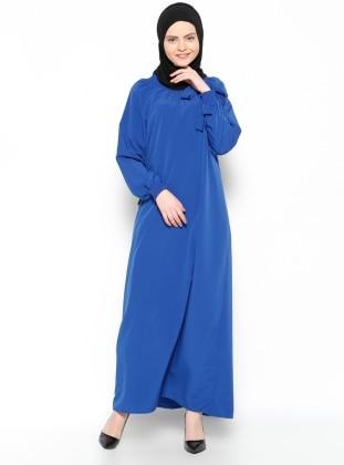 Yakası Büzgülü Elbise - Saks