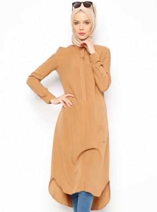 Brown - Button Collar - Tunic