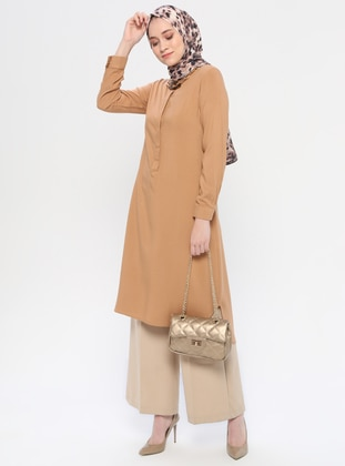 Brown - Button Collar - Tunic