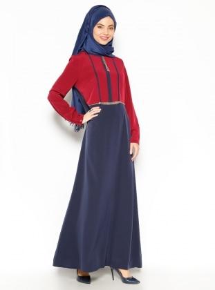 Chain Detailed Dress - Navy Blue - Esswaap 203242