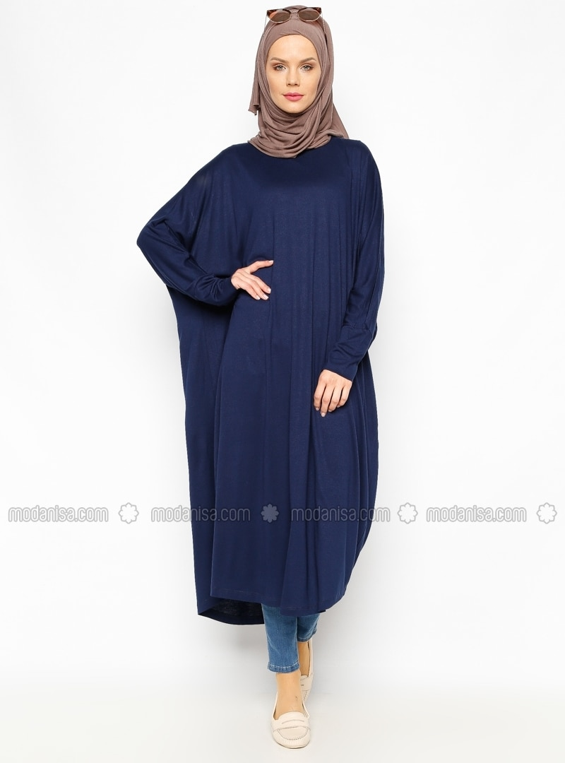Navy Blue - Crew neck - Navy Blue - Crew neck - Tunic