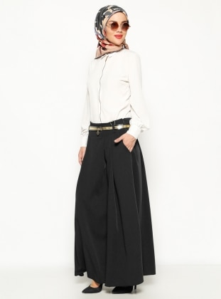Zinet Kemerli Pantolon Etek - Siyah