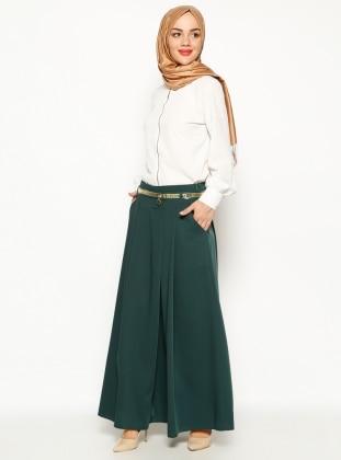 Kemerli Pantolon Etek - Yeşil Zinet