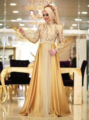 Bal Evening Dress - Gold - Minel Ask 203591